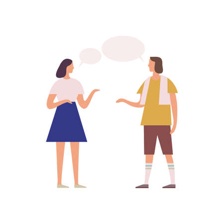 Two female friends gossiping with speech bubbles vector flat illustration. Cartoon woman talking each other and gesticulating isolated on white background. People enjoying conversation.