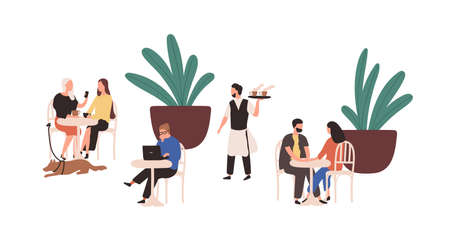 Cartoon people sitting at street cafe vector flat illustration. Colorful couple, man and woman relaxing at outdoors cafeteria isolated on white. Various visitors person spending time together Vecteurs