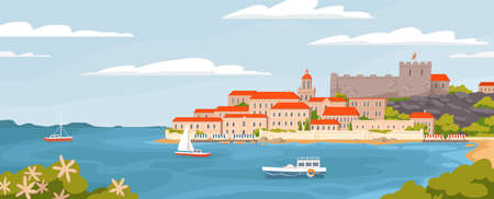 Beautiful European town on summer sea coast vector graphic illustration. Natural panoramic landscape view sky, water, city houses, ships and boats amazing seascape Vettoriali