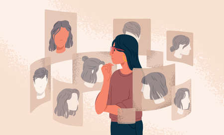 Pensive woman looking at different various choice hairstyle vector graphic illustration. Girl choosing new haircut at internet online cyber space isolated. Concept of beauty, fashion and technology