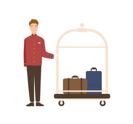 Smiling cartoon man bellman standing with luggage vector flat illustration. Joyful male baggage transportation worker isolated on white background. Professional hotel staff in uniform