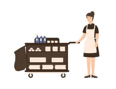Smiling cartoon house maid standing with pushcart vector flat illustration. Friendly female hotel staff with cleaning tools and towels isolated on white. Positive operating personnel employee