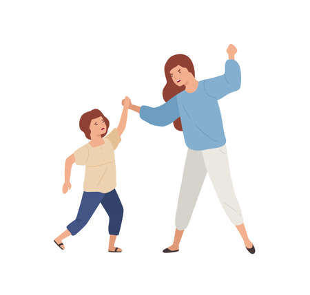 Angry mother hit crying daughter isolated on white background. Female child victim of domestic violence from irritated screaming mom vector flat illustration. Parents and children relationship Vector Illustration