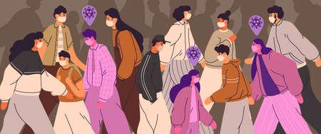 Foule de personnes portant des masques faciaux. Les hommes, les femmes et les adolescents utilisent des mesures de prévention des virus. Personnes infectées parmi les personnes en bonne santé. Pandémie de coronavirus, maladie épidémique. Illustration colorée dans un style cartoon plat.