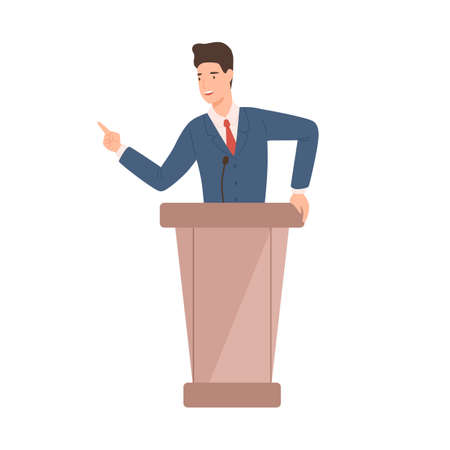 Male politician in suit standing at rostrum vector flat illustration. Positive political candidate gesticulate pointing finger talk with audience isolated on white. Official cartoon government worker.