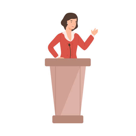 Cartoon female politician perform in front of audience vector flat illustration. Smiling woman government worker talking speech taking part in debates isolated on white. Political candidate