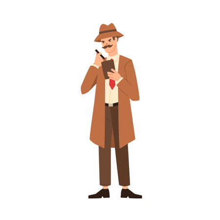 Cartoon professional man detective with mustache making notes vector flat illustration. Secret man agent in coat holding sketchpad writing notice isolated on white. Inspector with notebook