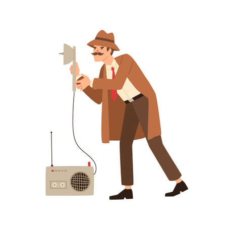 Funny private detective eavesdrop using spy equipment isolated on white. Male cartoon secret agent with mustache solving crime holding wiretap tool vector flat illustration. Cute espionage man Illustration