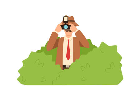 Professional male private detective hiding in bushes making photo vector flat illustration. Cartoon funny spy photographing use camera solving crime isolated on white. Colored character secret agent