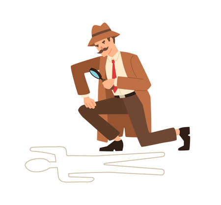 Private detective look through magnifying glass at crime scene vector flat illustration. Professional cartoon inspector hold magnifier near dead body isolated on white. Secret agent finding evidence