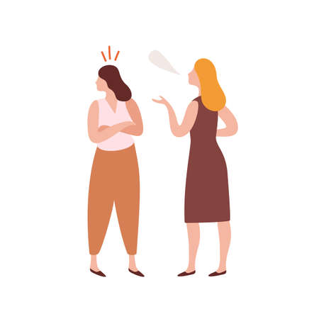 Abuser young woman talking with offended girl during conflict vector flat illustration. Quarrel of two female friends isolated on white background. Cartoon criticize person have disagreement