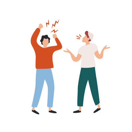 Two angry cartoon guys screaming during conflict vector flat illustration.
