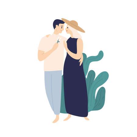 Smiling couple hugging walking together at summer street vector flat illustration.