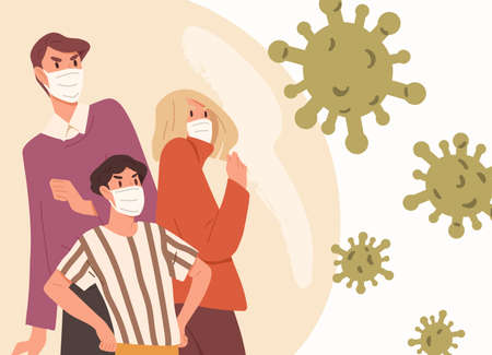 Family wearing face masks. Man, woman and child fight with respiratory disease outbreak. Illustration