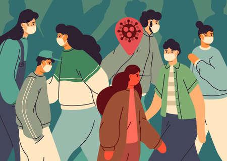 Transmisión del virus. Persona infectada entre personas sanas. Multitud de hombres y mujeres con mascarillas. Protección contra la epidemia de coronavirus. Concepto de contaminación de enfermedades. Estilo de dibujos animados plana de ilustración vectorial. Ilustración de vector