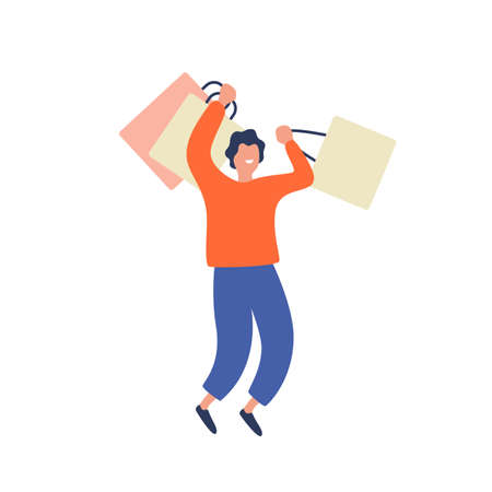 Happy shopaholic man having fun holding package isolated on white. Colored joyful male enjoying sale have positive emotion vector flat illustration. Smilig guy carrying shopping bags with purchase.