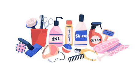 Collection dog and cat grooming equipment isolated on white background. Shampoo, comb, toys and tools for pet coat care vector flat illustration. Cartoon bottle for wash and clean of domestic animal