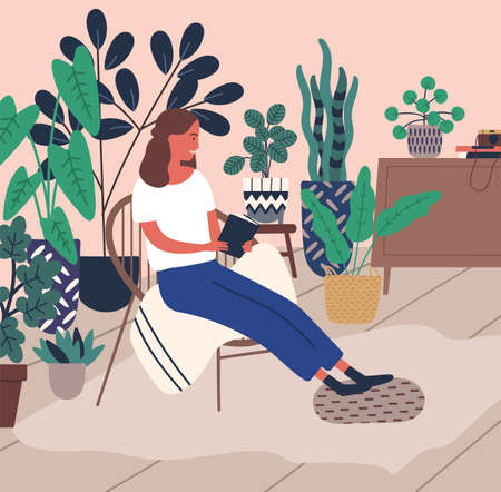 Smiling young woman relaxing reading book surrounded by houseplant vector flat illustration. Joyful cartoon female enjoying time to yourself at comfy home. Pleasant girl having anti stress leisure