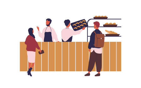 Cartoon people shopping at bakery buying fresh bread vector flat illustration. Colorful customers of baker house isolated on white background. Shop assistants working and selling pastry