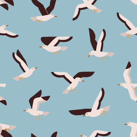 Cartoon colorful flight marine bird seamless pattern. Atlantic seabird creature enjoying freedom on blue background. Flying seagull vector flat illustration. Polar north natural wildlife Ilustração