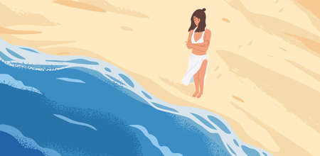 Bewildered woman standing in front of sea wave vector graphic illustration. Lonely pensive cartoon female looking at natural seascape stand on sand top view. Fear of starting concept Illustration