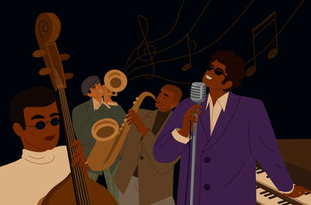 Music man playing musician instrument and singing vector graphic illustration. Artistic male jazz band play on saxophone, piano, trumpet and double bass. Singer with microphone isolated on black
