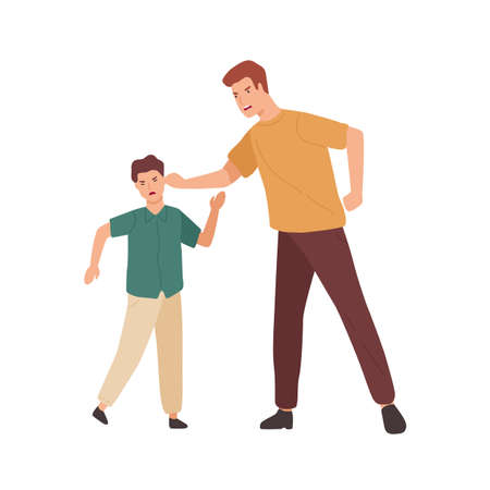 Angry father holding teenage son by ear vector flat illustration. Conflict of aggressive cartoon parent and child isolated on white background. Problem of offensive behavior and disobedience