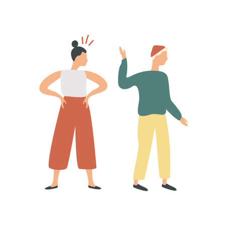Conflict of colorful cartoon couple isolated on white background. Offended man turning and go away from angry woman vector flat illustration. Quarrel or young male and female.
