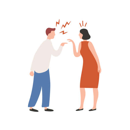 Cartoon couple scream each other having conflict vector flat illustration. Quarrel of annoyed colorful man and woman isolated on white background. Female and male character shouting