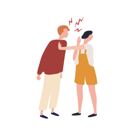 Cartoon suffer woman stopped angry man during conflict isolated on white background. Abuser colorful male shouting to fear female vector flat illustration. Quarrel of couple 向量圖像
