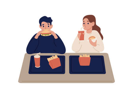 Cartoon couple eating fast food at cafeteria vector flat illustration. Colorful man and woman eat burger, french fries and beverage sit at table isolated on white. Hungry people trying meal.