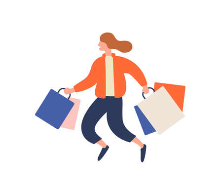 Happy cartoon girl running with shopping bag during sale vector flat illustration. Joyful colored buyer woman jumping carrying package isolated on white. Crazy shopaholic female enjoy discount.
