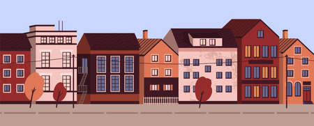Colorful cityscape with modern residential buildings. Suburban area horizontal panoramic banner. Urban street landscape with living houses facades. Vector illustration in flat cartoon style  イラスト・ベクター素材