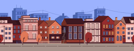 Horizontal seamless pattern with colorful cityscape. Urban landscape background with residential houses. Modern european street, suburban area. Vector illustration in flat cartoon style