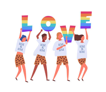 People carrying LOVE letters in rainbow colors isolated on white background. Lgbtq activists in costumes taking part in pride parade, street marche. Vector illustration in flat cartoon style