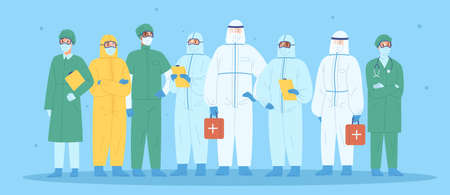 Group of medical workers in personal protective equipment. Physicians, nurses, paramedics, surgeons in workwear. Hospital team standing together wearing uniform or protection suit. Vector illustration.