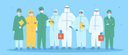 Gruppe medizinischer Mitarbeiter in persönlicher Schutzausrüstung. Ärzte, Krankenschwestern, Sanitäter, Chirurgen in Arbeitskleidung. Krankenhausteam steht zusammen und trägt Uniform oder Schutzanzug. Vektor-Illustration.