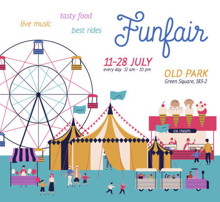 Amusement park poster with circus, ferris wheel, cotton candy and ice cream booth. Cartoon tiny people have fun together isolated on white. Announcement family entertainment vector flat illustration