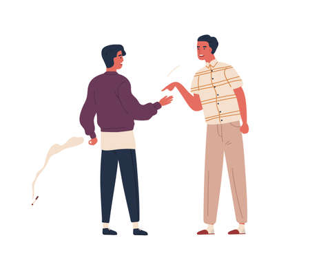 Furious father scold teenager son to smoking cigarette vector flat illustration. Dispute between angry dad and smoker adolescent guy isolated on white background. Male teen and parent conflict Illustration