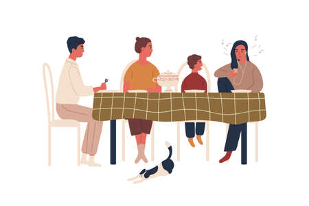 Disobedience teen girl listen music in earphones during family dinner vector flat illustration. Annoyed cartoon parents and little brother berate teenage female isolated on white. Conflict behavior