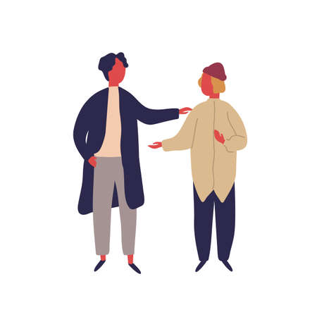 Two cartoon hipster male enjoying friendly conversation vector flat illustration. Colorful man friend talking together isolated on white. Modern people character communication during friendship