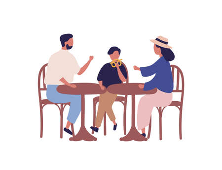 Cartoon family sitting at table in cafeteria vector flat illustration. Colorful parents and kid boy having lunch at outdoors bistro isolated on white background. Mother, father and son eat together