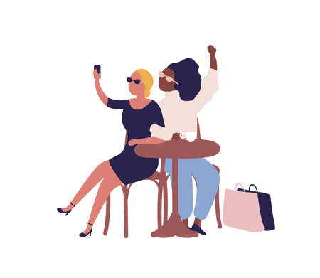 Stylish cartoon diverse woman posing taking selfie at cafe vector flat illustration. Joyful female friend sit at table in cafeteria isolated on white. Happy girl making photo during coffee break