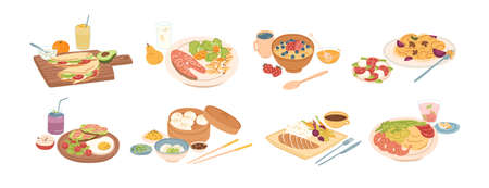 Set of different breakfast, lunch and dinner isolated on white background. Collection of cartoon appetizing fresh food and drink vector graphic illustration. Tasty colorful serving dish.