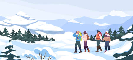 Group of cartoon backpacker winter hiking at mountain landscape panorama. Two active couple walking at snowy season. Colorful people outdoors activity. Travel expedition and mountaineering sport Иллюстрация