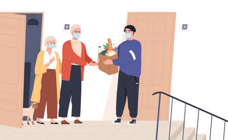 Elderly couple in face masks receiving a bag of products from delivery man. Volunteer taking care of senior family during virus outbreak. Shopping help. Vector illustration in flat cartoon style