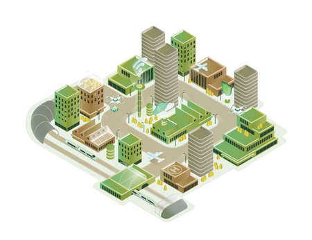 Colorful smart city isometric model vector illustration. Modern innovation cityscape infrastructure with technological transport, skyscraper, hi tech creative composition isolated on white background 矢量图片