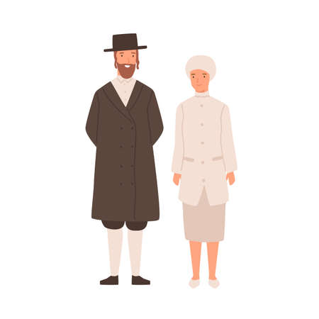 Happy cartoon man and woman jews standing isolated on white background. Smiling colorful jewish couple wearing traditional apparel vector flat illustration. Joyful husband and wife posing together