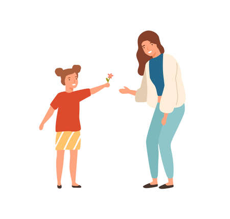 Cute cartoon little girl give flower to beautiful mother vector flat illustration. Happy well mannered female child and positive young woman isolated on white background. Colorful smiling family