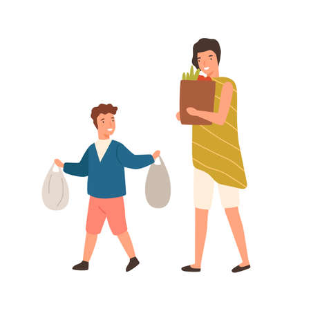 Cartoon well mannered boy help mother carry package with purchase vector flat illustration. Happy polite son carrying goods with woman isolated on white. Colorful child demonstrate good manners